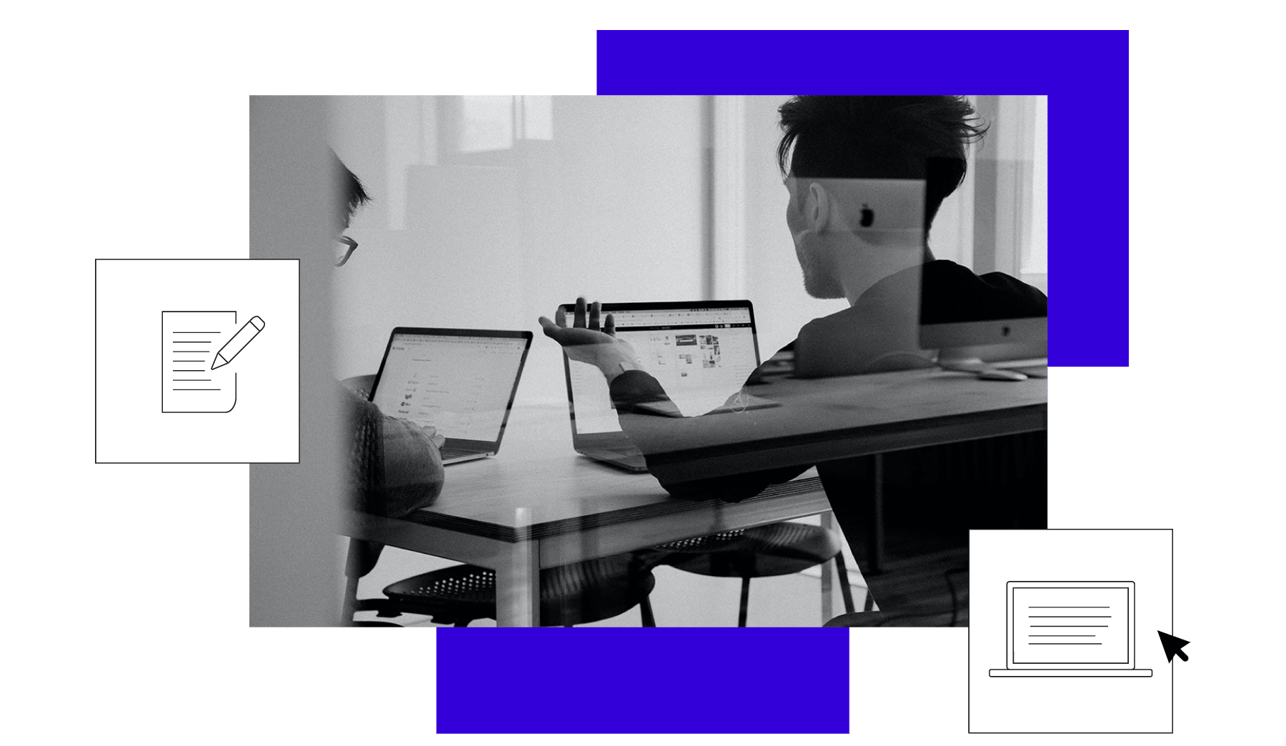 Bild von zwei Männern, die am Computer arbeiten