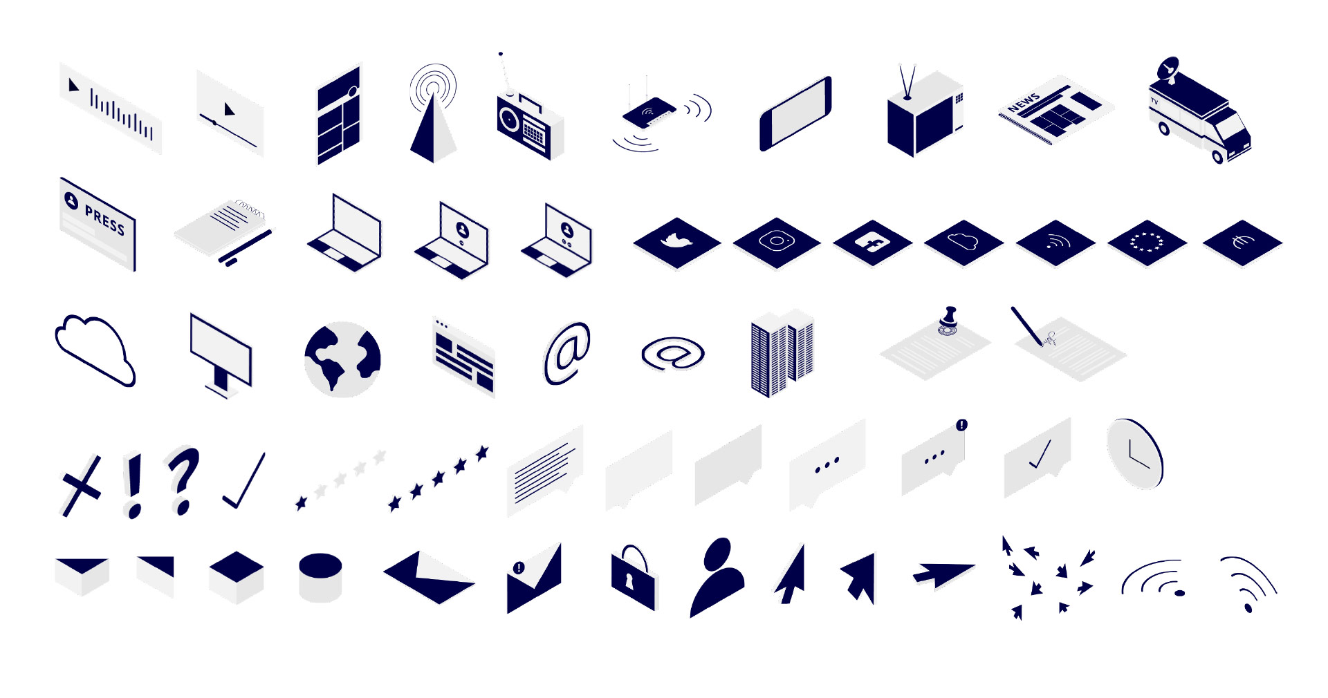 Übersicht verschiedener Grafiken in isometrischer Perspektive